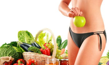 image of fruits and vegetable with woman's body